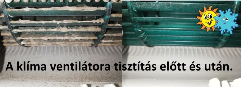 Elkoszolódott ventilátor tisztítás előtt és után.