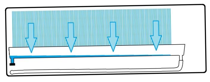 metszeti rajz egy kondenzvíz elvezetési hibáról