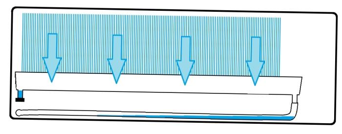 metszeti rajz egy az előzőhöz hasonló kondenzvíz elvezetési hibáról